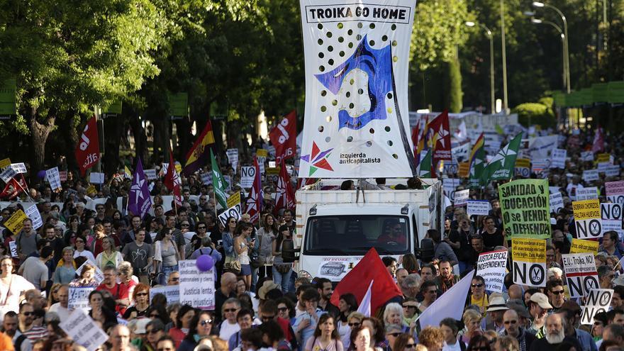 La marcha ha estado marcada por las críticas a la troika y sus políticas