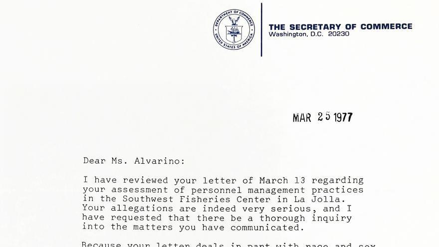 Carta de Juanita Morris Kreps a Ángeles Alvariño, 25/3/1977