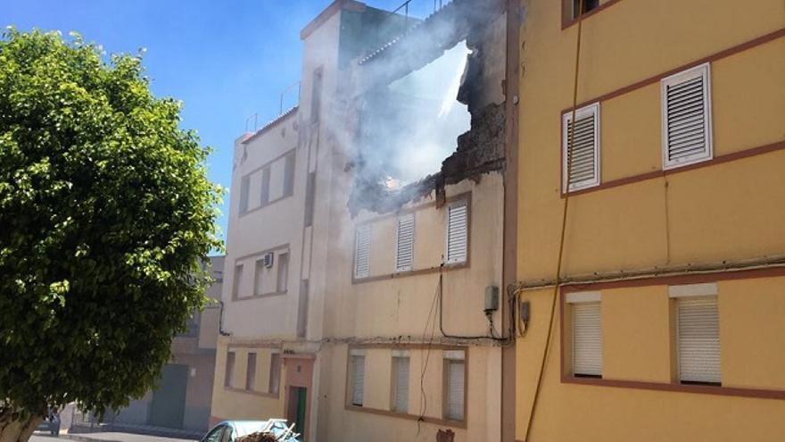 Imagen de la vivienda que explotó en Aguimes
