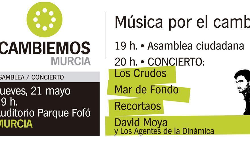 Cartel del acto de Cambiemos Murcia en el Auditorium del parque de Fofó