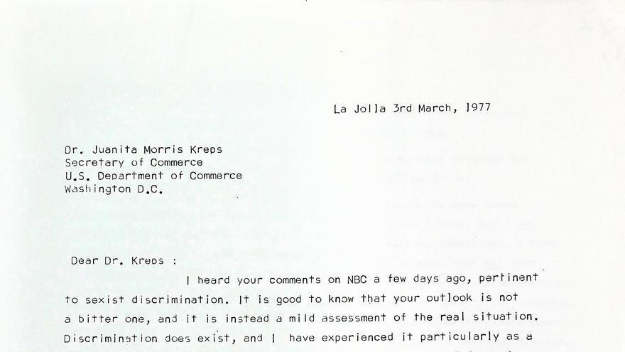 Primera página de la carta de Ángeles Alvariño a Juanita Morris Kreps, 3/3/1977