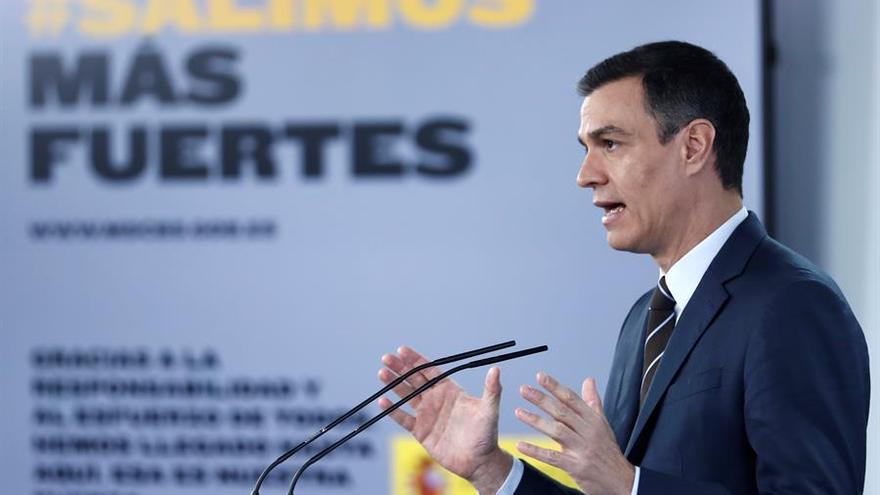 El presidente Pedro Sánchez en su comparecencia y rueda de prensa de este domingo.