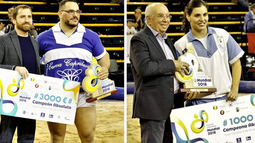 Los campeones absolutos: el tinerfeño Fabián Rocha y la grancanaria Estefanía Ramírez, este sábado en Gran Canaria