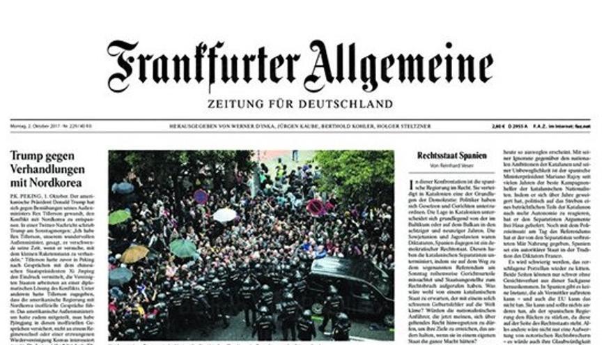 Portada de Frankfurter Allgemeine este 2 de octubre de 2017.