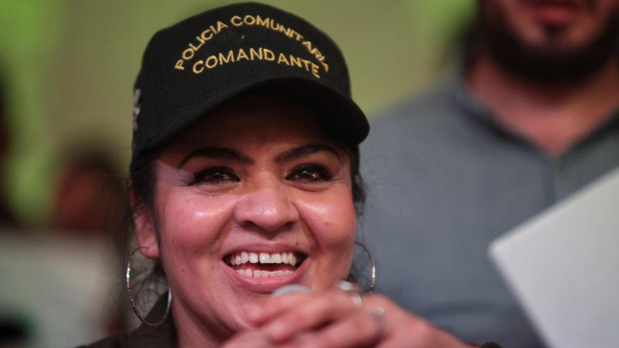 La miliciana Nestora Salgado, en la rueda de prensa que dio a su salida de la cárcel