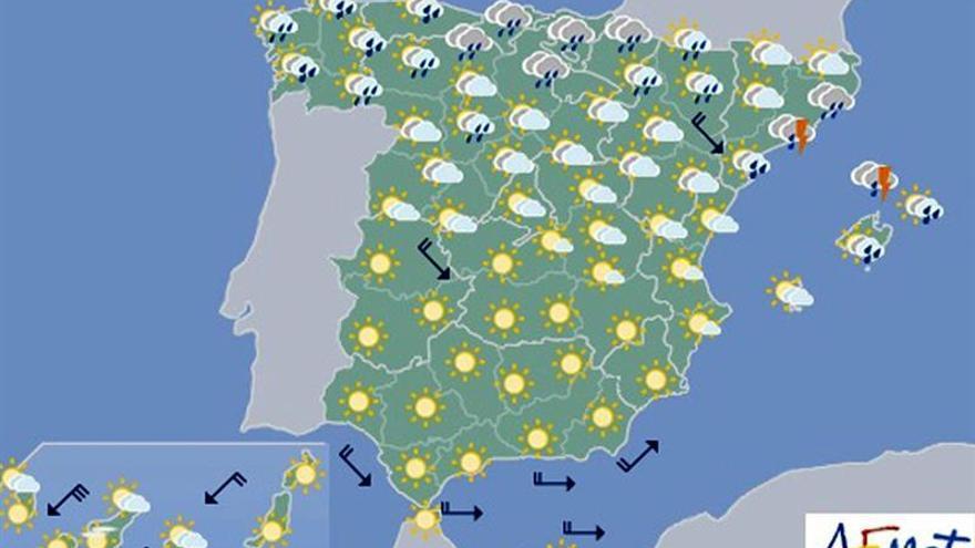 Hoy, precipitaciones en el norte y Baleares y nieve en Pirineos