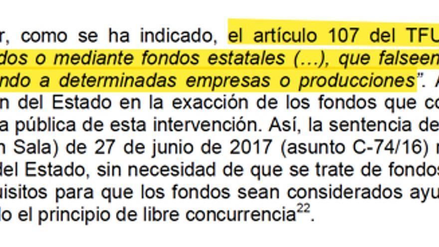 Extracto del informe del Tribunal de Cuentas