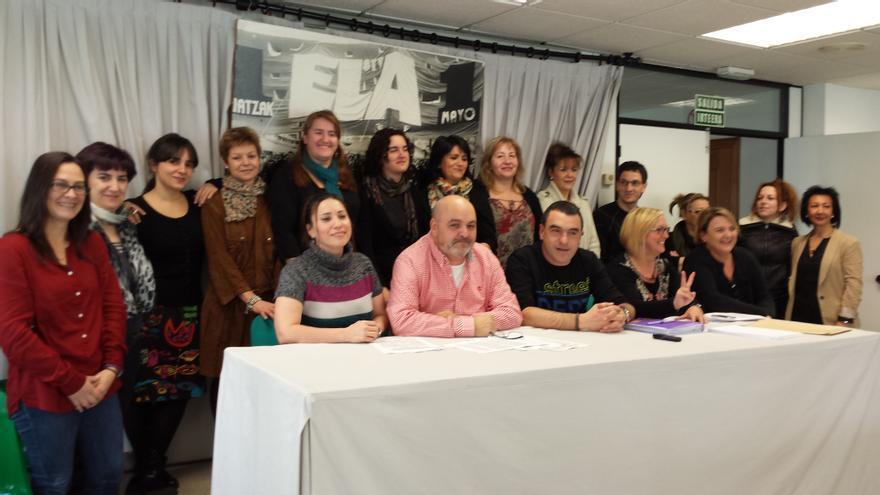 Trabajadoras de la residencia de Berra en una rueda de prensa ofrecida en San Sebastián