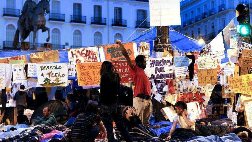 La Puerta del Sol tras una semana de acampada en mayo de 2011.