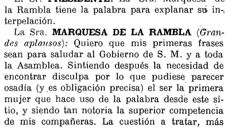 Primeras palabras de una mujer en el Palacio del Congreso de los Diputados. Extracto del Diario de las Sesiones de la Asamblea Nacional, nº 3, de 23 de Noviembre de 1927 (p. 52)