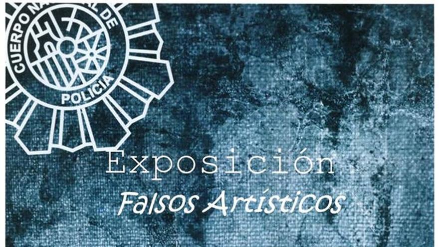 Cartel anunciador de la exposición 'Falsos artísticos' en Valladold en 2017.