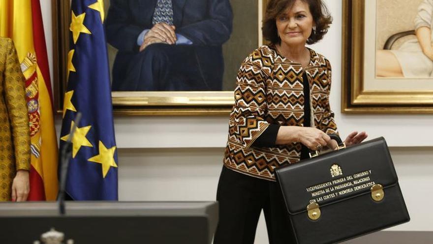 La vicepresidenta primera y ministra de Presidencial y Relaciones con las Cortes, Carmen Calvo, durante la toma posesión de su cargo el pasado día 13.