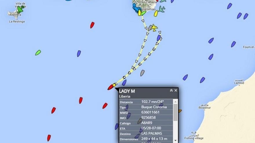 Situación del petrolero 'Lady M' (www.localizatodo.com)