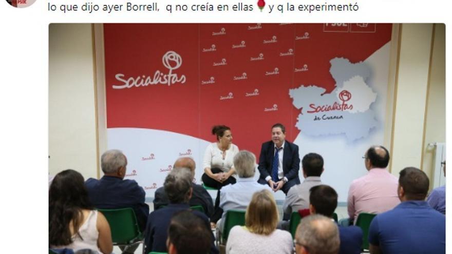 Tuit de 'Vamos con Page', cuenta de apoyo al actual secretario general del PSOE en la región
