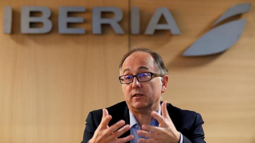 El presidente de Iberia, Luis Gallego, durante una entrevista con Efe.
