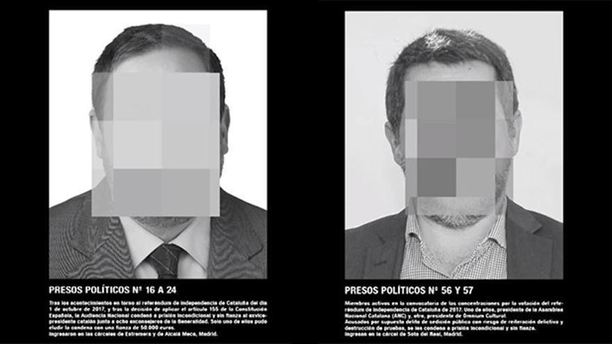 """Oriol Junqueras y Jordi Sànchez en la obra sobre los """"presos políticos"""" de Santiago Sierra en ARCO."""