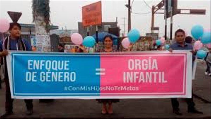 Pancarta en Lima.