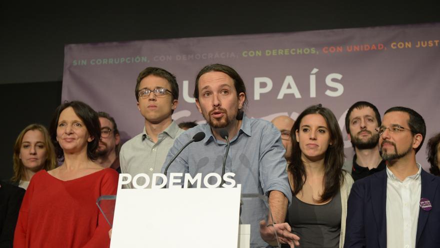 Pablo Iglesias, con parte de su equipo, comparece tras el escrutinio del 20D.
