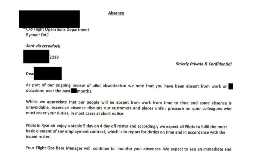 Extracto de una carta enviada por Ryanair a un piloto debido a su nivel de ausencias al trabajo.