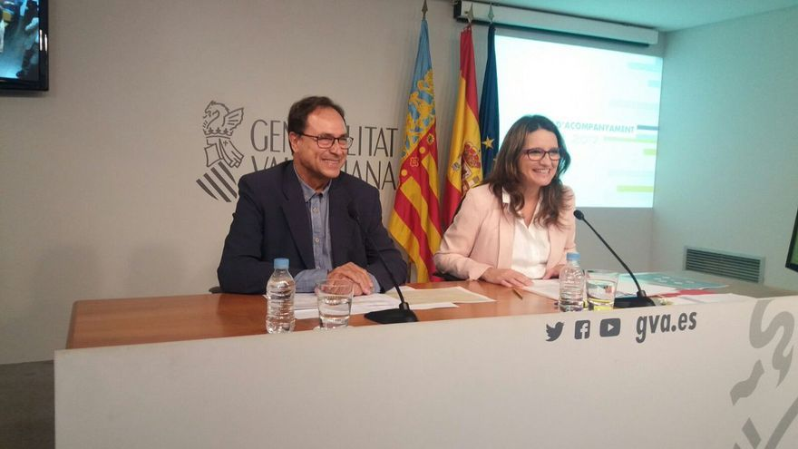 El conseller de Hacienda, Vicent Soler, y la vicepresidenta de la Generalitat, Mönica Oltra, en rueda de prensa tras la reunión del Consell.