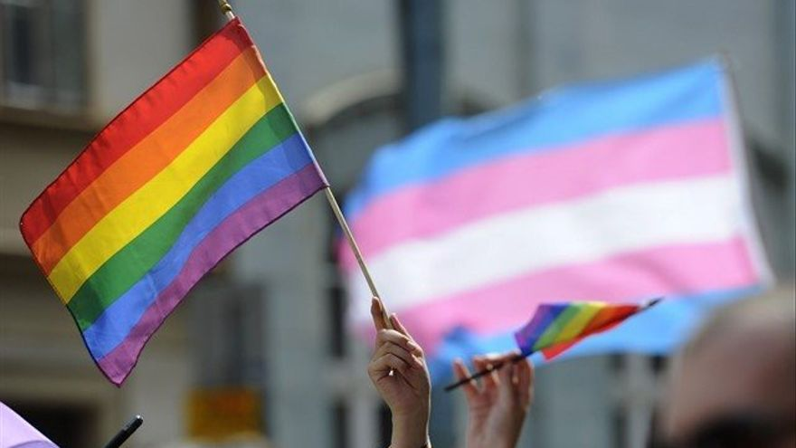 La bandera LGTBi con la de orgullo transexual de fondo.