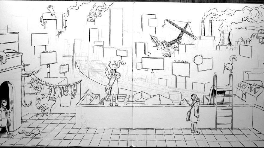 Boceto de una de las ilustraciones del ábum Al Final. Por Miguel Brieva.