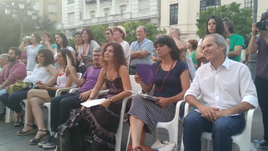 Teresa Rodríguez en un acto de Ganemos Córdoba durante la campaña de las municipales.