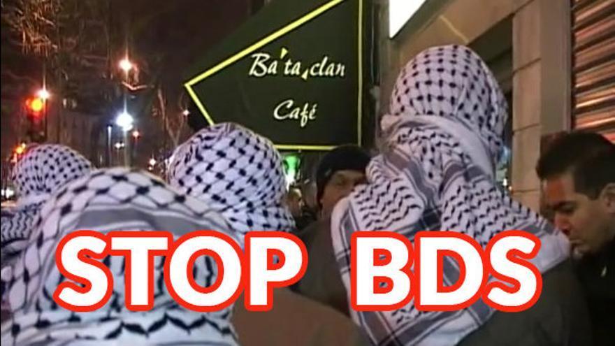 Montaje fotográfico de ACOM con personas ataviadas con el pañuelo palestino y una referencia al atentado yihadista en Bataclan