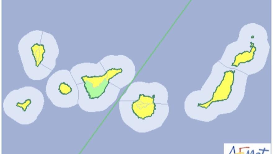 Mapa de la Aemet del aviso de riesgo por lluvias y viento para este lunes, 11 de diciembre de 2017.