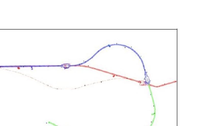 Cambio de trazado de una línea casi recta a una curva.