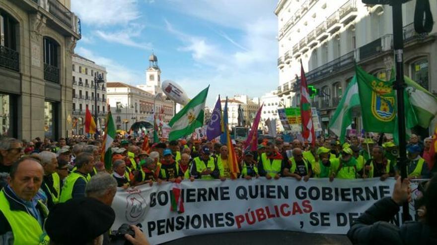 Manifestación pensionistas en la marcha hasta Madrid
