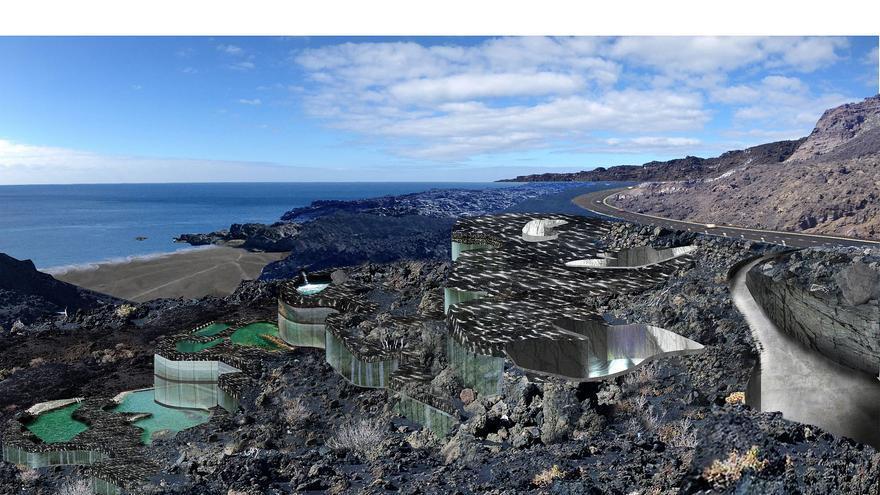 Recreación del futuro balneario de la Fuente Santa según el proyecto 'Piedra de Fuego'.