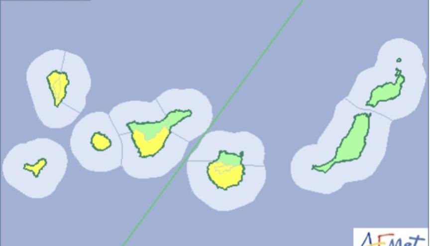 Mapa de la Aemet del aviso de riesgo por lluvias para este viernes, 23 de febrero de 2018.
