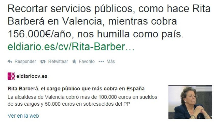 Tuit de Pablo Iglesias sobre Rita Barberá