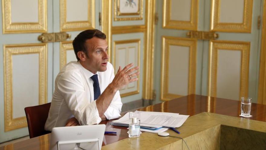 El presidente francés, Emmanuel Macron, en su despacho del Eliseo.