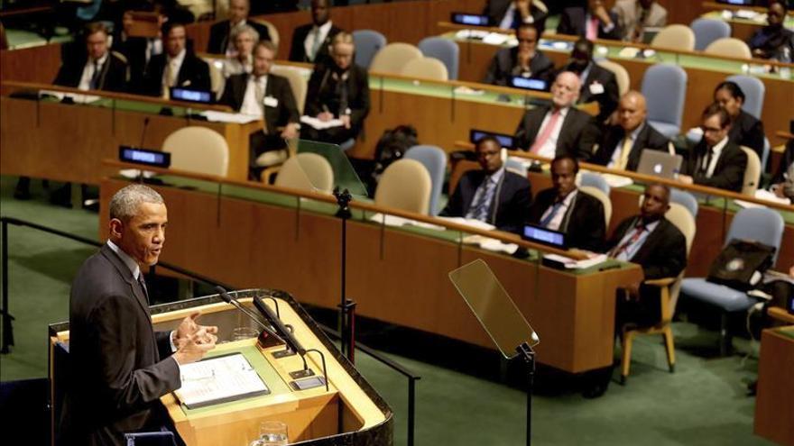 El presidente estadounidense, Barack Obama, interviene en la Cumbre del Clima en la sede de las Naciones Unidas en Nueva York. / Efe