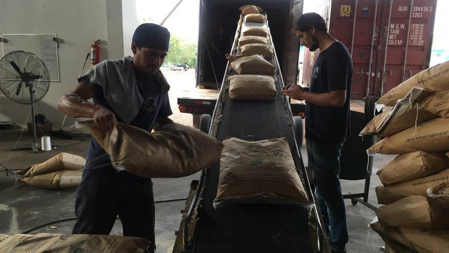 Preparación de los sacos de azúcar para ser transportados.