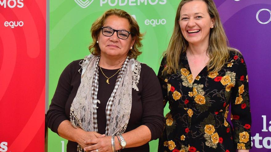 Victoria Rosell y Meri Pita, candidatas de Unidas Podemos al Congreso de los Diputados.