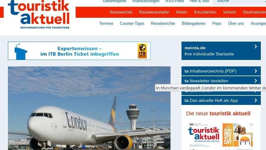 Página web de la revista alemana 'Touristik Aktuell'.