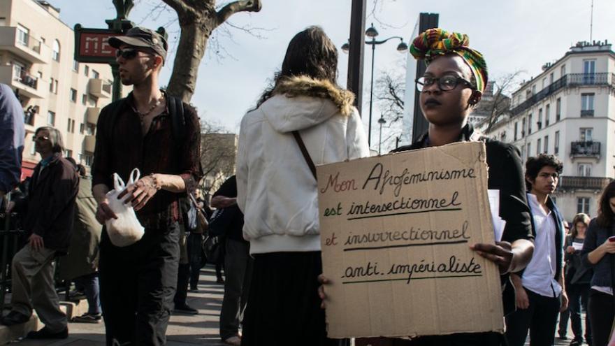 Manifestación por el día internacional de los derechos de las mujeres organizado por el colectivo 8 Mars pour Toutes.
