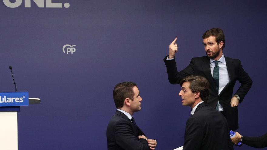 Casado, García Egea y Montesinos, este martes, en la sede del PP.
