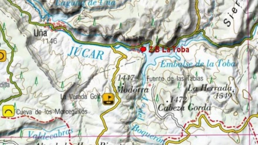 Plano de situación del embalse de La Toba, en Cuenca