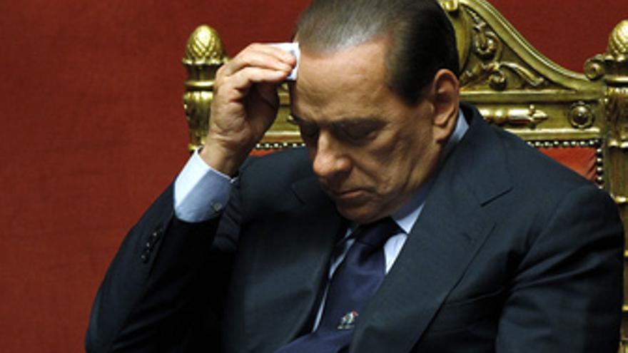 El primer ministro italiano Silvio Berlusconi en el Senado