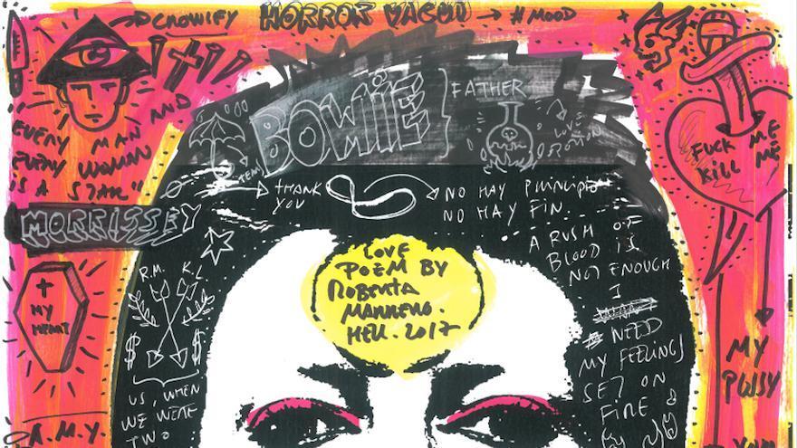Uno de los collage de Roberta Marrero, imagen central de David Bowie