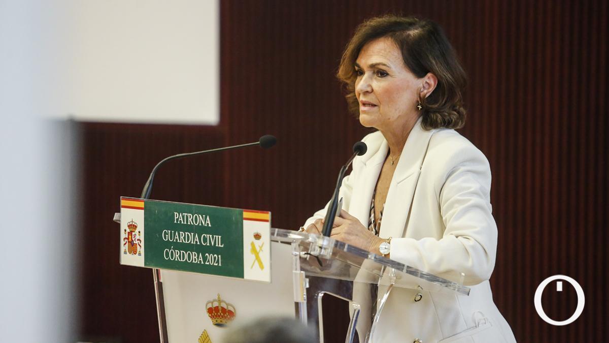 La exvicepresidenta Carmen Calvo, en un acto en Córdoba