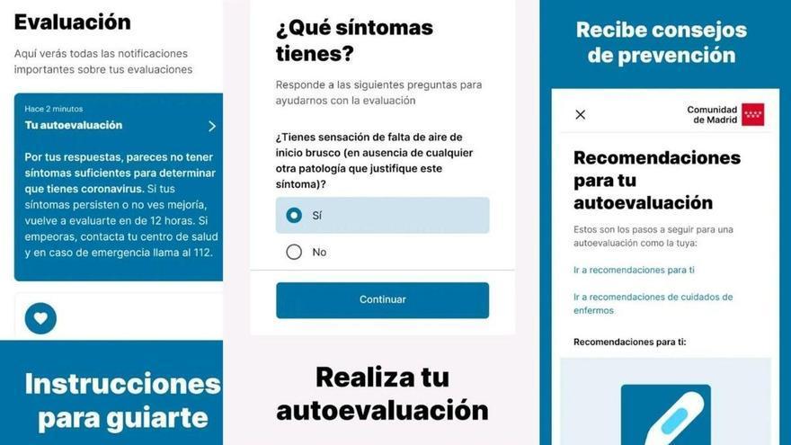 Imágenes de CoronaMadrid, la app de la Comunidad de Madrid para el autodiagnóstico de coronavirus.