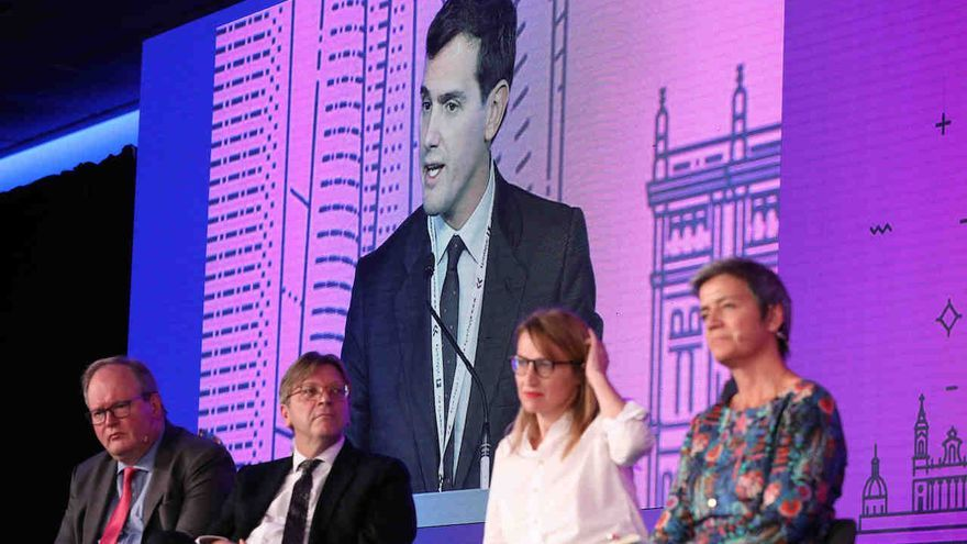 November 9, 2018 - Madrid, Spain - HANS VAN BAALEN MEP, ALDE Party President(left), GUY VERHOFSTADT MEP, ALDE Group Leader, ASTRID PANOSYAN, co-founder of En Marche! and MARGRETHE VESTAGER, European Commissioner for Competition attends to ALBERT RIVERA MP, Party Leader Ciudadanos. The Alliance of Liberals and Democrats for Europe Party (ALDE Party) is a European political party mainly active in the European Union, composed of 60 national-level liberal parties from across Europe. The 39th ALDE Party Congress at the Marriott Auditorium Hotel on Nov 9, 2018 in Madrid, Spain