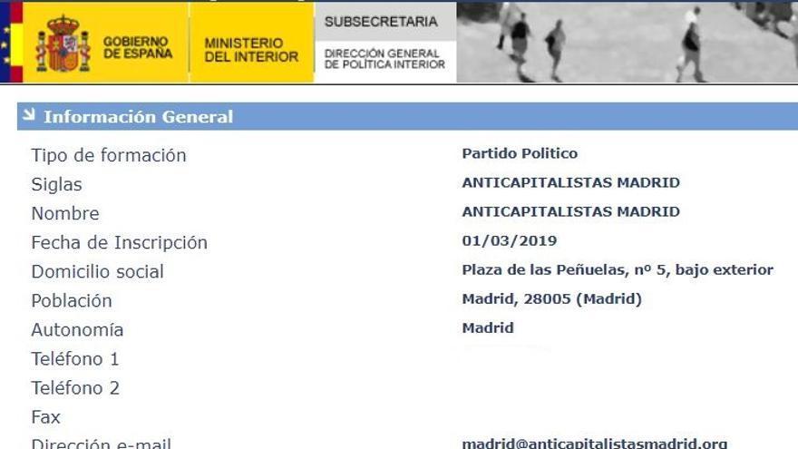 Registro de Anticapitalistas Madrid como partido político.