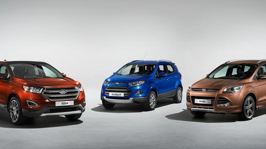 Los SUV de Ford, Edge, EcoSport y Kuga, de izquierda a derecha.