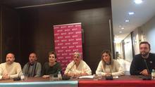 Un momento de la rueda de prensa organizada por la FELGTB.